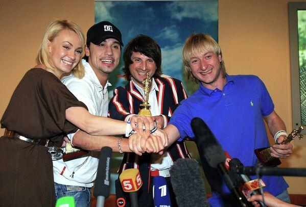 Яна Рудковская, Дима Билан, Эдвин Мартон и Евгений Плющенко (слева направо)