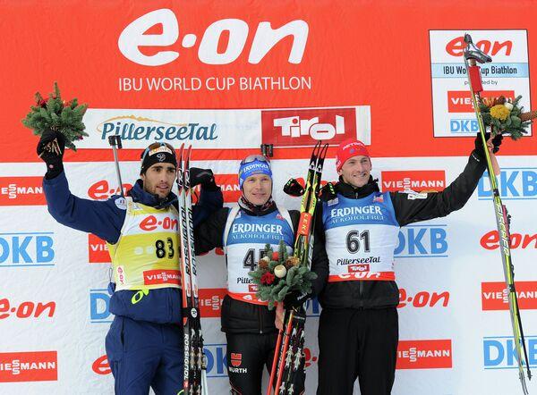 Мартен Фуркад, Андреас Бирнбахер и Яков Фак (слева направо)