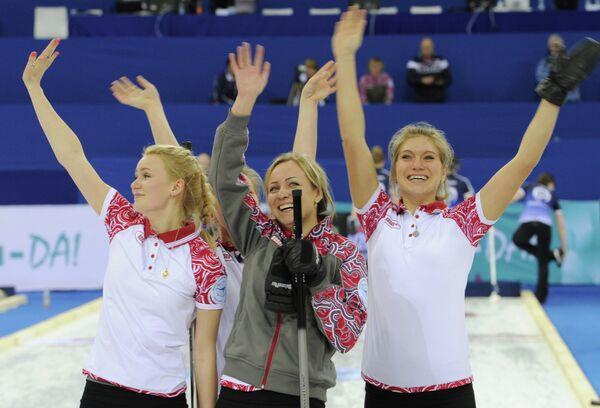 Российские спортсменки Александра Саитова, Юлия Портунова, Алина Ковалева и Оксана Гертова (слева направо)