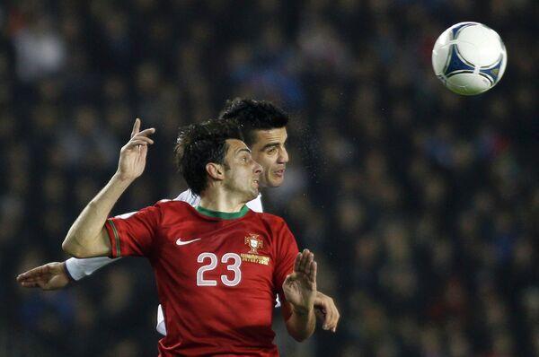 Игровой момент матча сборных Азербайджана и Португалии
