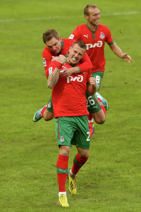 Радость игроков Локомотива в игре с Тереком