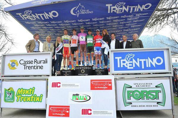 Подиум после гонки Джиро дель Трентино.