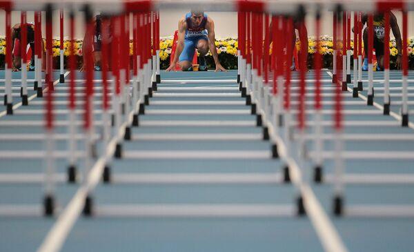 Российский спортсмен Сергей Шубенков в финальном забеге на 110 м с барьерами среди мужчин