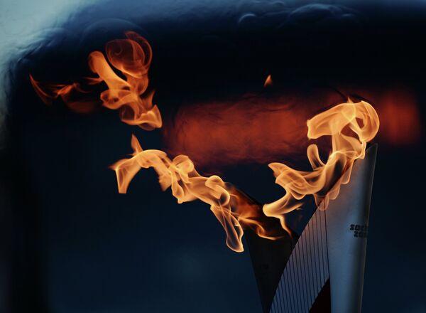 Факел во время Эстафеты Олимпийского огня в Тульской области