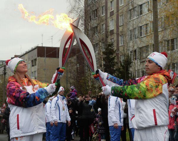Эстафета Олимпийского огня. Гатчина