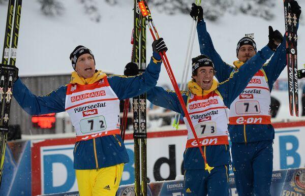 Шведские спортсмены Бьорн Ферри, Фредрик Линдстрем, Кристоффер Эрикссон (слева направо)