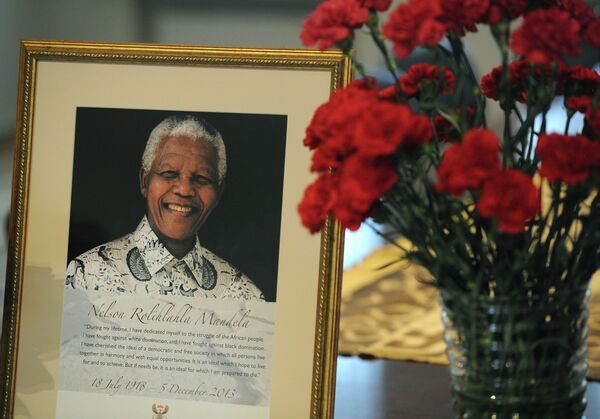 Портрет Нельсона Манделы в посольстве Южно-Африканской Республики в Москве