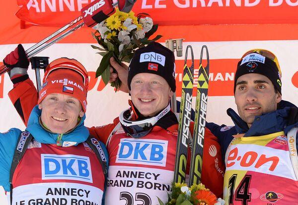 ндржей Моравец (Чехия) - второе место, Йоханнес Бе (Норвегия) - первое место, Мартен Фуркад (Франция) - третье место