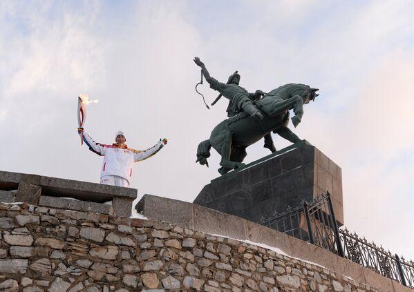 Антон Икрянников во время эстафеты