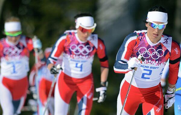 Марит Бьерген (Норвегия) на дистанции скиатлона