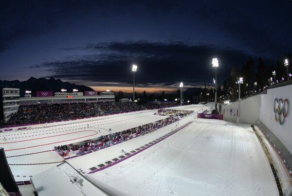 Вид на лыжно-биатлонный комплекс Лаура