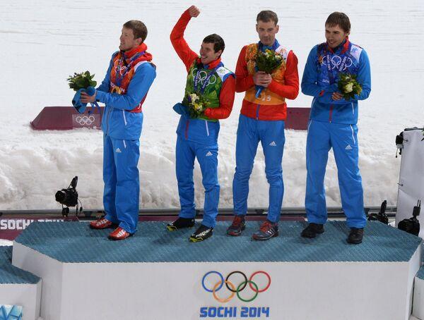 Алексей Волков, Евгений Устюгов, Дмитрий Малышко, Антон Шипулин (слева направо)