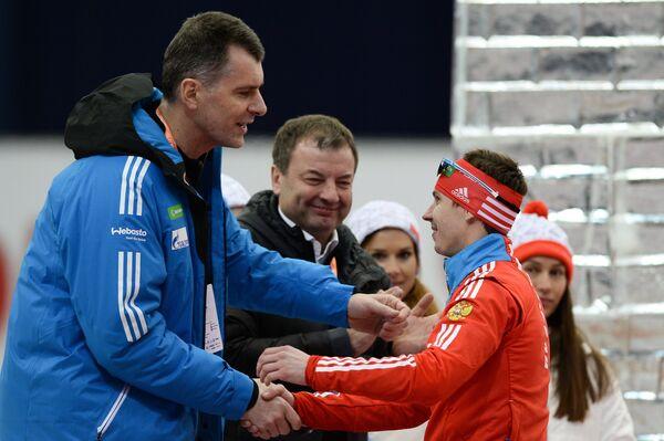 Михаил Прохоров, Сергей Кущенко и российский спортсмен Евгений Устюгов (слева направо)