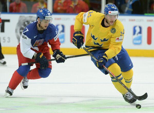 Игровой момент матча Швеция-Чехия