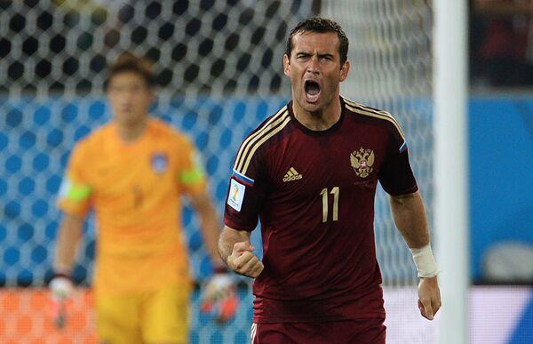 На фото: форвард сборной России Александр Кержаков