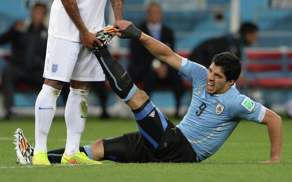 Форвард сборной Уругвая Луис Суарес.