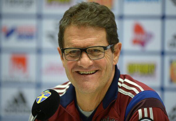 Главный тренер сборной России по футболу Фабио Капелло на пресс-конференции