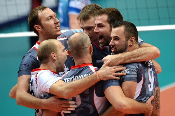 Волейболисты Белогорья радуются победе