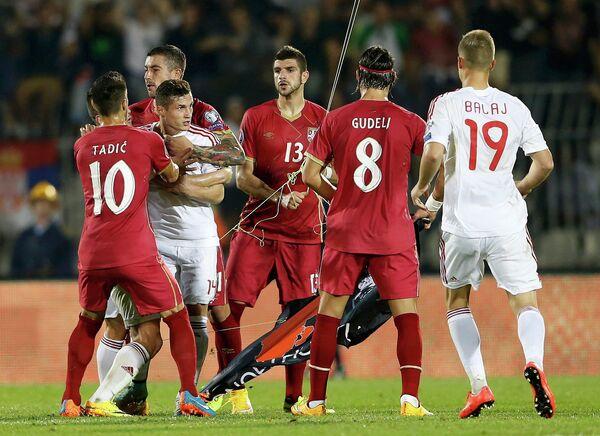 Драка в матче Сербия - Албания