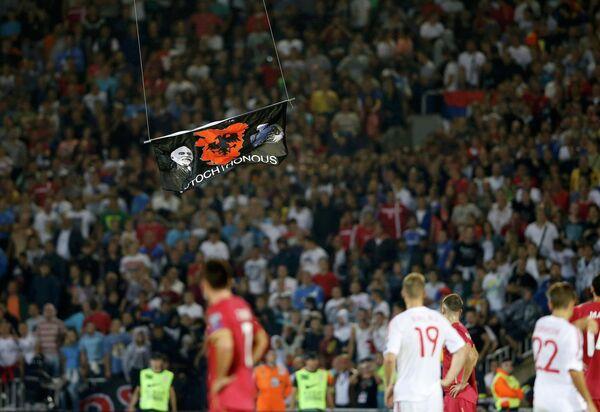 Баннер, приведший к беспорядкам и остановке матча отборочного турнира Евро-2016 между Сербией и Албанией