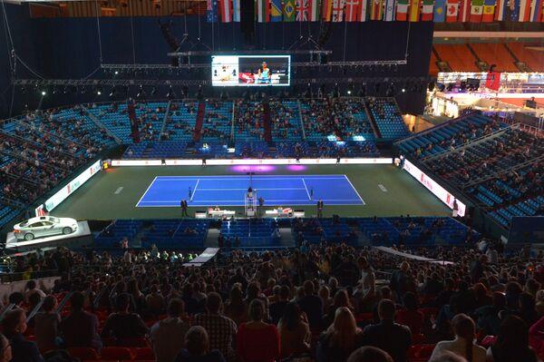 Теннисный корт перед полуфинальным матчем женского одиночного разряда Кубка Кремля - 2014