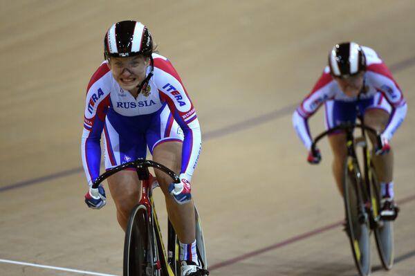 Дарья Шмелева и Анастасия Войнова на чемпионате мира по велоспорту на треке