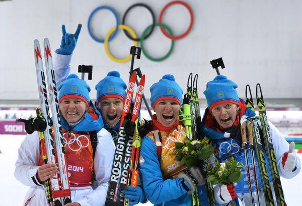 Яна Романова (Россия), Ольга Зайцева (Россия), Екатерина Шумилова (Россия), Ольга Вилухина (Россия) (слева направо)