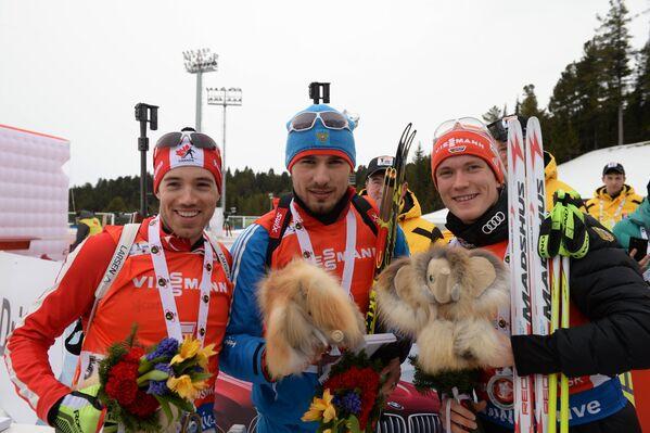 Натан Смит, Антон Шипулин и Бенедикт Долль (слева направо)