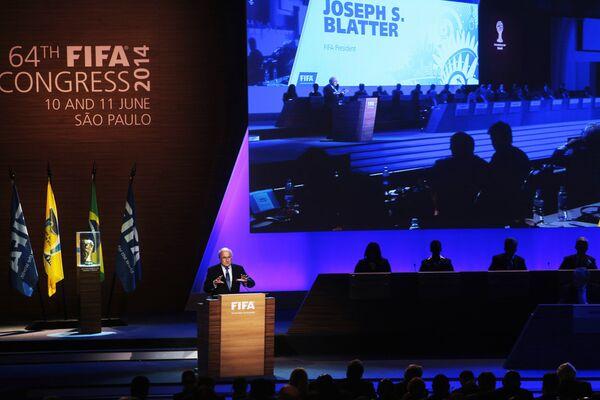 Президент Международной федерации футбола Йозеф Блаттер во время выступления на очередном Конгрессе в Сан-Паулу