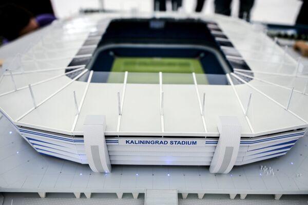 Макет стадиона Арена Балтика, который строится в Калининграде для проведения матчей чемпионата мира по футболу 2018 года