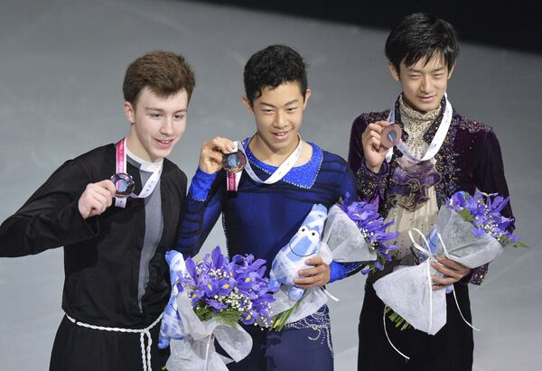 Дмитрий Алиев, Натан Чен, Сота Ямамото (слева направо)