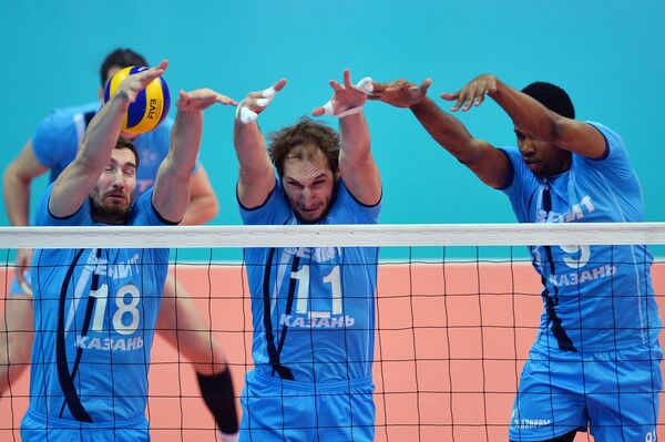 Волейболисты казанского Зенита Максим Михайлов, Андрей Ащев и Вильфредо Леон (слева направо)
