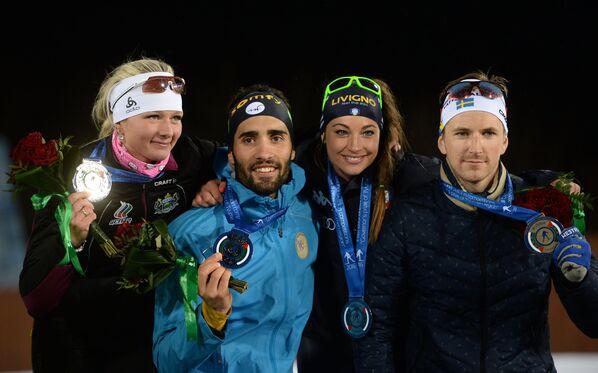 Слева направо: лыжница Татьяна Алешина (Россия), биатлонист Мартен Фуркад (Франция), биатлонистка Доротея Вирер (Италия) и лыжник Теодор Петерсон (Швеция)