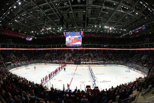 Россия - Финляндия. Команды перед началом матча