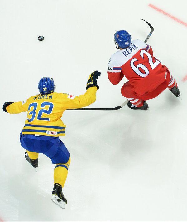 Игровой момент матча Швеция - Чехия